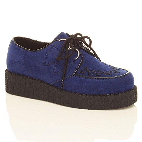 Creepers Botas Zapatos Planos Plataforma Cuña Con Cordones...