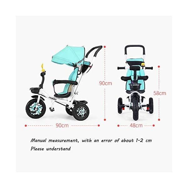 3 In 1 Childrens Tricycles 12 Months To 5 Years Stable Seat Can Be Adjusted Back Kids Tricycle Heigh Adjustable Handlebar Folding Sun Canopy Child Trike Maximum Weight 25 Kg,Gray BGHKFF ★{Material}: High carbon steel frame + environmentally friendly plastic, suitable for children from 1 to 5 years old, maximum weight 25 kg ★{3 in 1 multi-function}: Convertible to stroller and tricycle. Remove the hand putter and awning as a tricycle. ★{Safety Design}: Gold triangle structure, not easy to turn side down, skin-friendly safety Oxford cloth fabric, 360° safety fence, 3 adjustable awnings, effectively block UV rays, rear wheel double brakes, lock rear wheel 5