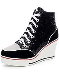 Femme Chaussure de Mode Basket Plate-forme à Lacets Sneakers Wedge Montante  Haute Sneakers Loisir 970b9a6553f4