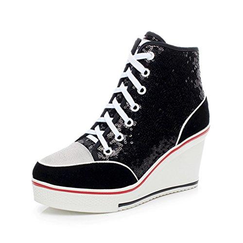 Femme Chaussure de Mode Basket Plate-forme à Lacets Sneakers Wedge Montante Haute Sneakers Loisir à Talon Compensée 35-43 Noir