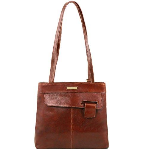 Tuscany Leather Martina - Borsa donna in pelle convertibile a zaino - TL141477 (Marrone) Marrone