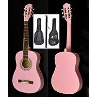 ts-ideen 5288 - Guitarra acústica infantil 1/2 para 6-9 años incluye funda acolchada correa cuerdas afinador de silbato y 2 púas color rosa