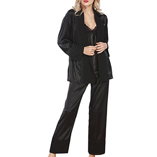 Zhhlinyuan Fashion Sleepwear Nightwear Satin and Chiffon Ladies Pyjamas Set Black