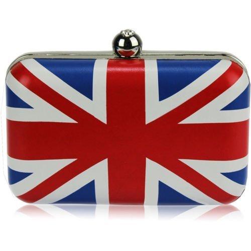 TrendStar Damen Union Jack Box Perlen Handtasche Abend Diamante Funkelnden Handtasche Hartschalenkoffer Handtasche (Union Handtasche Jack Damen)
