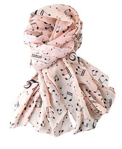 mugesh Chiffon - Schal Notenmix - Schönes Geschenk für Musiker (hellrosa)