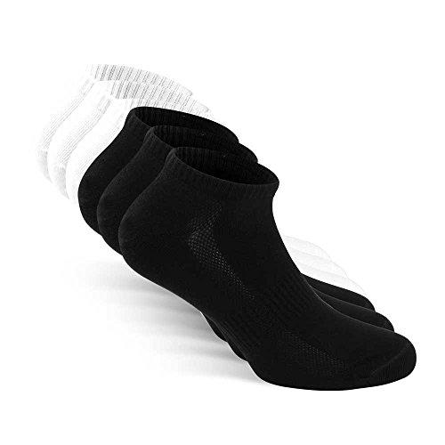 Snocks Herren & Damen Sneaker Socken (6x Paar) Lange Haltbarkeit Dank Bester Qualität 3x Schwarz + 3x Weiß, 39 - 42