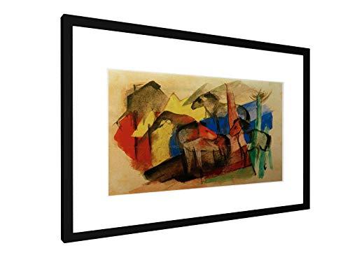 Franz marc - tre cavalli nel paesaggio con le case - 60x40 cm - immagine cornice - stampa artistica - arte della parete - vecchi maestri/museo