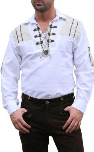 Trachtenhemd für Lederhosen mit Verzierung weiß, Hemdgröße:3XL