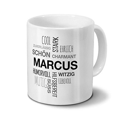 Tasse mit Namen Marcus Positive Eigenschaften Tagcloud - Schwarz - Namenstasse, Kaffeebecher, Mug, Becher, Kaffeetasse