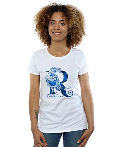 Harry Potter Damen Ravenclaw Raven T-Shirt Weiß Small