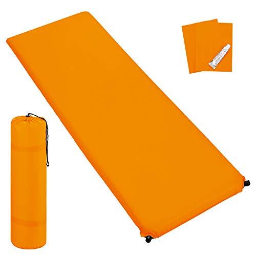 Outdoor Isomatte, selbstaufblasend, ca. 2 m Länge, inkl. Flick Set - selbstaufblasbare Luftmatratze geeignet zum Camping und fürs Zelt mit kleinem Packmaß (orange, 6 cm Polsterdicke)