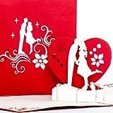 """'Biglietto di auguri Pop Up Scheda """"The Kiss Amore, fidanzamento, San Valentino, di amore coppia, coppia di sposi, di compleanno, nozze, biglietto biglietto tridimensionale, San Valentino, compleanno, amore, fidanzamenti, matrimoni, invito"""