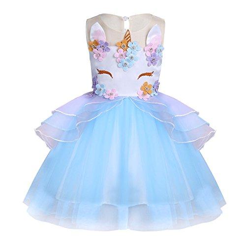 YIZYIF Niñas Vestidos de Princesa Fiesta Cumpleaños Ceremonia para Bebé Niña Disfraz de Infantil Unicornio Azul cielo 8-9 años