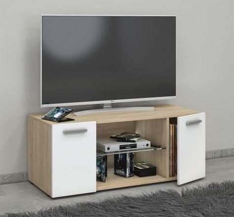 VCM Lowina 95 Meuble TV, Bois, Chêne Sonoma/Blanc, 40 x 95 x 36 cm