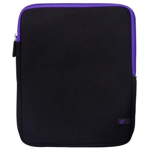 V7 TDM23BLK-PL-2E Ultra Protective Neopren Schutzhülle für Tablet-PCs bis 7,9 Zoll und iPad mini - schwarz-lila (Lila Tablet Tasche)