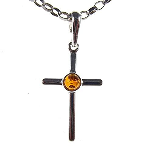 Baltic amber and sterling silver 925 cognac cross pendant jewellery