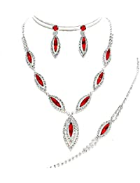 Glitzy Glamour red diamante clip on earring set tyF8tG