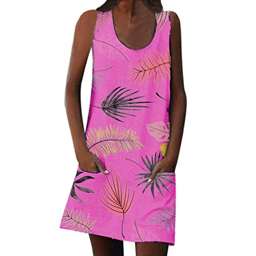 Röcke Kurzarm Sommerkleider Ärmellos Böhmischer Stil Taschen Drucken Strandkleid (Hot Pink, Medium) ()