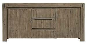 Matelpro-Buffet/bahut contemporain 2 portes/3 tiroirs en bois massif coloris gris brumeux Kalija