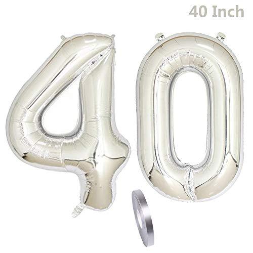 2 globos número 40, Number 40 decoración de cumpleaños niña de plata,40'globo inflable plateado de helio,figuras de globos de helio gigantes para la decoración de fiestas, San Valentín (xxxl 100 cm)