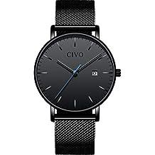 CIVO Relojes para Hombres Ultra Fino Minimalista Reloj de Pulsera Lujo Elegante Moda Negro Caballeros Reloj