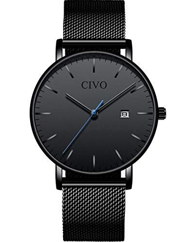 CIVO Herren Damen Uhren Unisex Ultra Dünne Wasserdicht Minimalistische Männer Uhren Elegant Luxus Geschäfts Beiläufig Uhr mit Schwarz Milanese Mesh Uhrenarmband Analog Uhren (1 Schwarz)