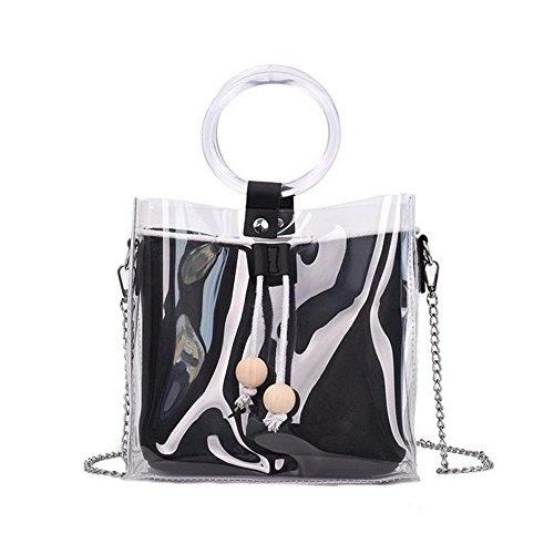 Borsa donna borsa a tracolla femminile con elegant shoulder bag in pu pelle trasparente a tracolla con coulisse trasparente donna moda a mano borse