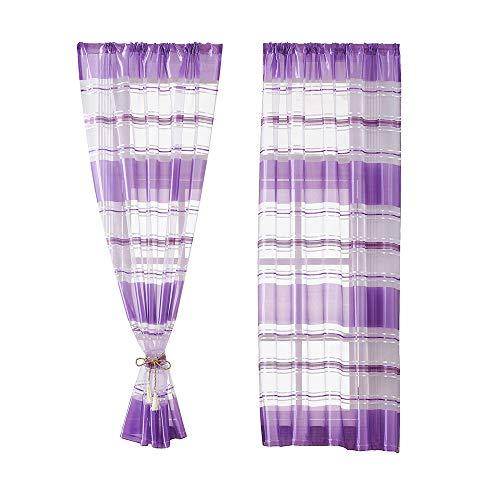 Hjdq sheer curtains- sheer mantovane window tenda per camera da letto soggiorno trasparente tulle tende banda d'argento tende, viola