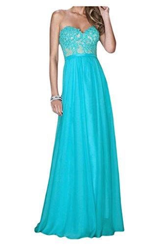 Toscana sposa incantesimo antiaderente a forma di cuore applicazione sera vestiti lunghi Chiffon damigella Party Ball vestiti Blau