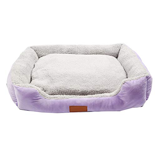 XGPT Waschbare Soft Cushion Basket Bett Für Hunde Welpen Katzen, Plush Lining Car Seat Cover Crate Mat,Purple,XL