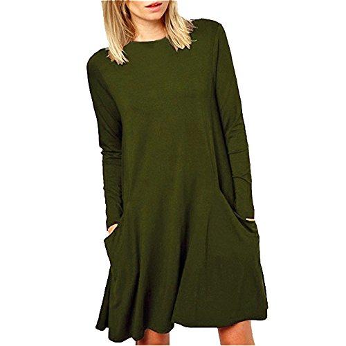 LHWY Femmes en vrac grande poche Casual manches longues col O Ruffles Mini robe Armée verte