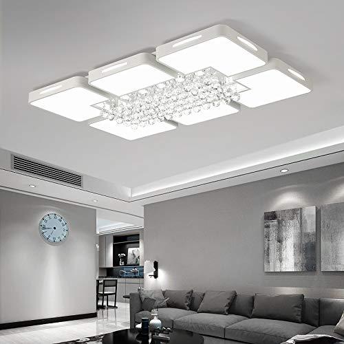 YKDY LED Deckenleuchte 108W Living Room Einfache Moderne LED-Deckenleuchte Crystal Light, 3-farbig dimmbar, 120 x 80 cm -