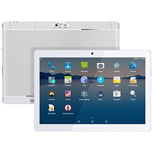 Qimaoo 10.1 Zoll 4G Tablet PC,1G RAM +16G ROM,Batteriekapazität 4500mAh,Dual-SIM,IPS HD Display 1280x800,Quad Core CPU,Android 7.0, WiFi WLAN Bluetooth,4 Farben zur Wahl Silber