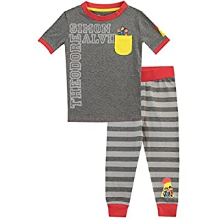 Alvin and the Chipmunks Boys Alvin Theodore Simon Pyjamas Snuggle Fit Grey Age 7 to 8 Years