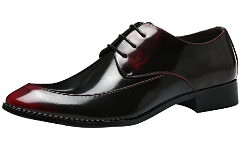 Schnürhalbschuhe Retro Klassiker Oxfords Schnürer Modische Anzug Schuhe Rote 43 EU (Tragen Anzug Zum Verkauf)