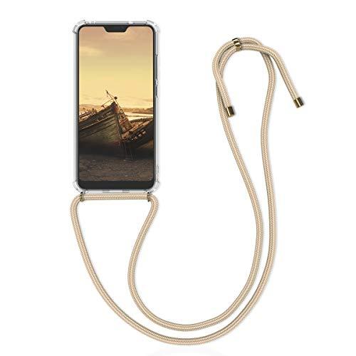 kwmobile Funda con Cuerda para Xiaomi Redmi 6 Pro/Mi A2 Lite - Carcasa Transparente de TPU con Colgante en Dorado/Transparente