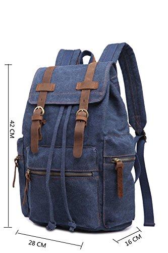Leefrei vintage Canvas Rucksack Damen Herren Rucksäcke Retro Schulrucksack Backpack Daypack für Uni, Wandern, Outdoor Sport, freizeit, Einkaufen mit der großen Kapazität (kakifarbe2) schwarzblau