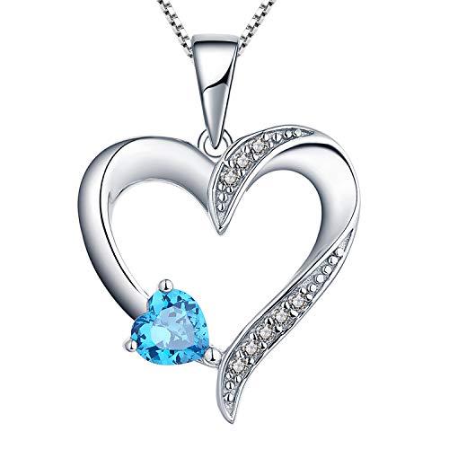 YL Halskette Damen Silber 925 Anhänger Herz mit 5MM * 5MM AAA Herz Blauer Zirkonia Kette Frauen und Mädchen, 45-50 cm