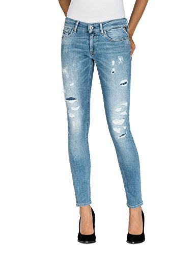 Replay Damen Skinny Jeans Luz, Blau (Mid Light Blue 9), W31/L32 (Jeans Fit Distressed Relaxed)