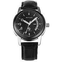 binlun grande nero con nero in pelle gioielli orologio meccanico automatico con data illuminato a 40mm - Fancy Gioiello