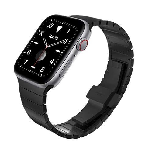 KADES kompatibel mit Apple watch Series 4 Series 5 44mm Armband, Edelstahl-Gliederarmband für iWatch Series 1,2,3 42mm, Schwarz