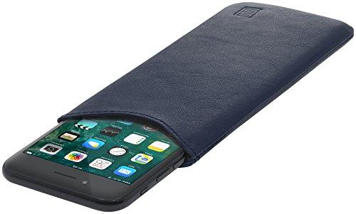 StilGut Pouch, Universal-Hülle aus feinstem Nappaleder | Sleeve Handyhülle Größe M für z.B. iPhone 8, iPhone 7, iPhone 7s, Samsung Galaxy A3 (2017) u.a, Dunkelblau Nappa