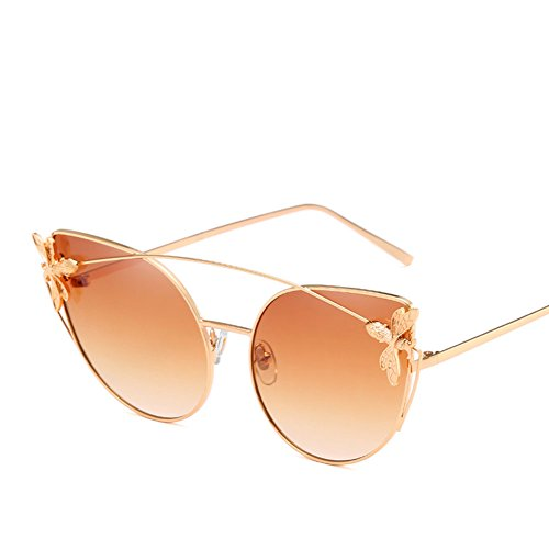Z&YQ Retro Sonnenbrille Persönlichkeit Mode Catseye Metallrahmen Kleine Biene Frauen Brille,Brown