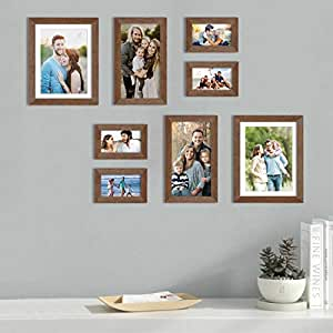 Art Street Set of 8 Brown Wall Photo Frame, Picture Frame for Home Decor with Free Hanging Accessories (Size - 4x6, 6x10, 8x10 Inchs)