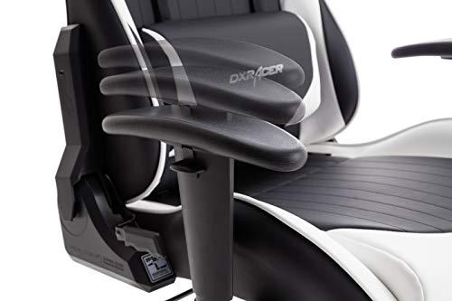 DX Racer6 Gaming Stuhl, Schreibtischstuhl, Bürostuhl, Chefsessel mit Armlehnen, Gaming chair, Gestell Kunststoff, 78 x 52 x 124-134 cm, Kunstleder PU schwarz / weiß - 5