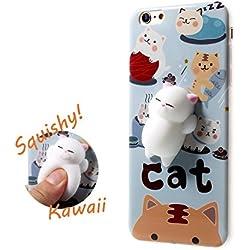 QQI esponjosas gato teléfono móvil funda para iPhone 6S/7Plus Kawaii Cute Carcasa de TPU blando de silicona antiadherente Squeeze lento Rising Jumbo Juguete Estrés Aliviar