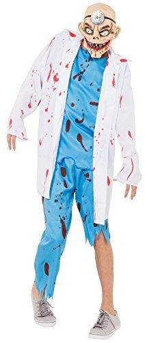 Kostüm Halloween Tot Chirurg (Herren Toter Zombie Arzt Chirurg + Maske Halloween Horror Kostüm Kleid)
