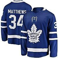 Matthews # 34 Maple Leaf Hockey sobre Hielo Ropa Deportiva Manga Larga Hockey sobre Hielo Jersey Equipo Competición Sudadera Entrenamiento Ropa Real Jersey M-3XL