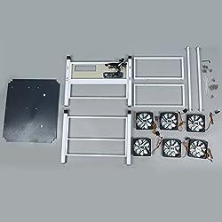 Olvidolb 6 Gpu Open Air Mining Case Computer Eth Miner Frame Rig 6x Fan & Temp Monitor