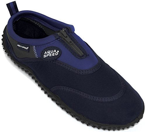 Aqua-speed Aqua Shoes - Water Shoes Per La Spiaggia - Mare - Scarpe Da Bagno Ideali Come Protezione Per I Piedi - # As4 Blu Navy / Blu
